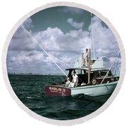 1950s 3 Men On Charter Fishing Boat Round Beach Towel