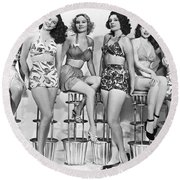 1950s Bathing Suits Round Beach Towel