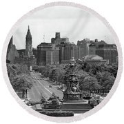 1950s Benjamin Franklin Parkway Looking Round Beach Towel