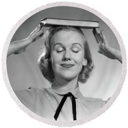 1950s Blond Woman Smiling With Eyes Round Beach Towel