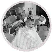 1950s Boy In Barbershop Getting Round Beach Towel