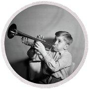 1950s Boy Playing Trumpet Horn Round Beach Towel