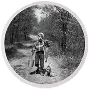 1950s Boy With Beagle Puppy Walking Round Beach Towel