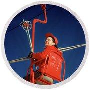 1950s Brunette Woman Red Ski Hat Jacket Round Beach Towel