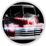 Classic Cars Round Beach Towel featuring the photograph 1950's Chevrolet Truck by Aaron Berg