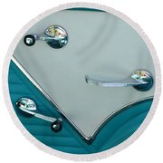 Round Beach Towel featuring the photograph 1950's Chevy Interior by Dean Ferreira