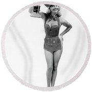 1950s Full Length Portrait Of Blond Round Beach Towel