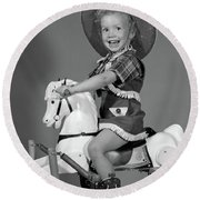 1950s Girl Dressed As Cowgirl Riding Round Beach Towel