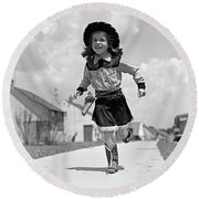 1950s Girl In Cowgirl Outfit Running Round Beach Towel