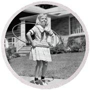 1950s Girl In Dress On Suburban Round Beach Towel