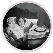 1950s Girl Sick In Bed Playing Records Round Beach Towel