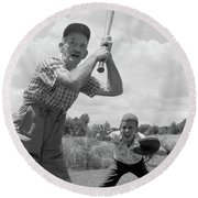 1950s Grandfather At Bat With Grandson Round Beach Towel