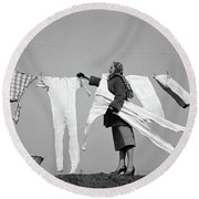1950s Housewife Removing Frozen Long Round Beach Towel