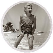 1950s Laughing Blonde Woman Round Beach Towel