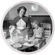 1950s Mother & Daughter Baking A Cake Round Beach Towel