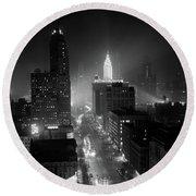 1950s Night Aerial Chicago Illinois Round Beach Towel