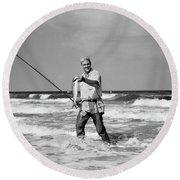 1950s Older Man Standing In Surf Round Beach Towel