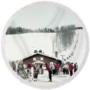 1950s Skiers At Alpine Lift Mount Mt Round Beach Towel