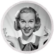 1950s Smiling Blonde Portrait Female Round Beach Towel