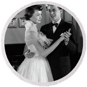 1950s Smiling Teenage Couple In Formal Round Beach Towel