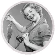 1950s Smiling Woman With A Fishing Rod Round Beach Towel