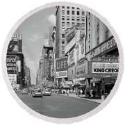 1950s Times Square View North Up 7th Round Beach Towel