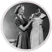 1950s Woman Making Dress Pinning Fabric Round Beach Towel