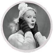 1950s Young Woman Pursing Lips Hands Round Beach Towel