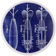 1951 Spinning Bait Patent Drawing Blue Round Beach Towel