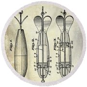 1951 Spinning Bait Patent Drawing Round Beach Towel