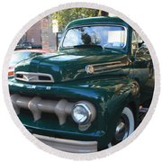 1952  Ford Pick Up Truck Front And Side View Round Beach Towel by John Telfer