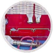 1952 L Model Mack Pumper Fire Truck Hoses Round Beach Towel by Jill Reger