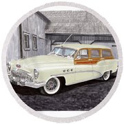 1953 Buick Estate Wagon Woody Round Beach Towel by Jack Pumphrey