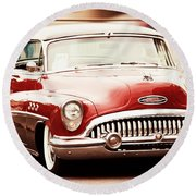 Classic Cars Round Beach Towel featuring the photograph 1953 Buick Super by Aaron Berg