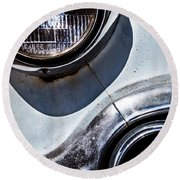 1953 Chevy Headlight Detail Round Beach Towel