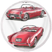 1953 Corvette Round Beach Towel