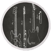 Round Beach Towel featuring the digital art 1953 Fender Bass Guitar Patent Artwork - Gray by Nikki Marie Smith
