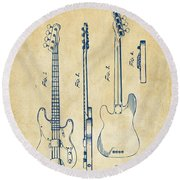 Round Beach Towel featuring the digital art 1953 Fender Bass Guitar Patent Artwork - Vintage by Nikki Marie Smith