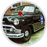 1953 Police Car Round Beach Towel by Patricia Greer