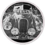 1954 Jaguar Xk 120 Se Ots Bw Round Beach Towel