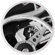 1954 Mg Tf Steering Wheel Emblem -0920bw Round Beach Towel
