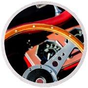 1954 Mg Tf Steering Wheel Emblem Round Beach Towel