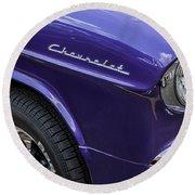 1955 Chevrolet Purple Monster Round Beach Towel