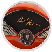 Round Beach Towel featuring the photograph 1955 Chevy Bel Air Dashboard Clock by Mike Martin
