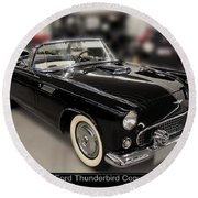 1955 Ford Thunderbird Convertible Round Beach Towel by Chris Flees