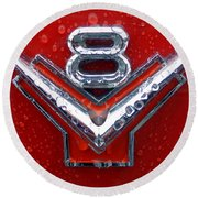 1955 Ford V8 Emblem Round Beach Towel