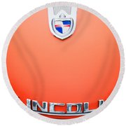 Round Beach Towel featuring the photograph 1955 Lincoln Indianapolis Boano Coupe Emblem by Jill Reger