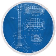 Round Beach Towel featuring the digital art 1955 Mccarty Gibson Les Paul Guitar Patent Artwork Blueprint by Nikki Marie Smith