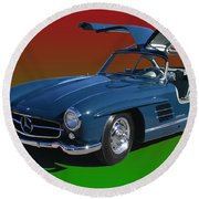 1955 Mercedes Benz 300 S L  Round Beach Towel by Jack Pumphrey