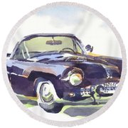 Round Beach Towel featuring the painting 1955 Thunderbird by Kip DeVore